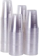 TashiBox 100 Count - 16 Ounce Plastic Drink Cups, Ice Coffee Cups To Go - Crystal Clear