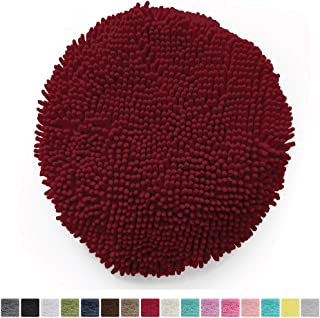 Gorilla Grip Original Shag Chenille Bathroom Toilet Lid Cover, 19.5 x 18.5 Inches Large Size, Machine Washable, Ultra Soft Plush Fabric Covers, Fits Most Size Toilet Lids for Bathroom, Burgundy