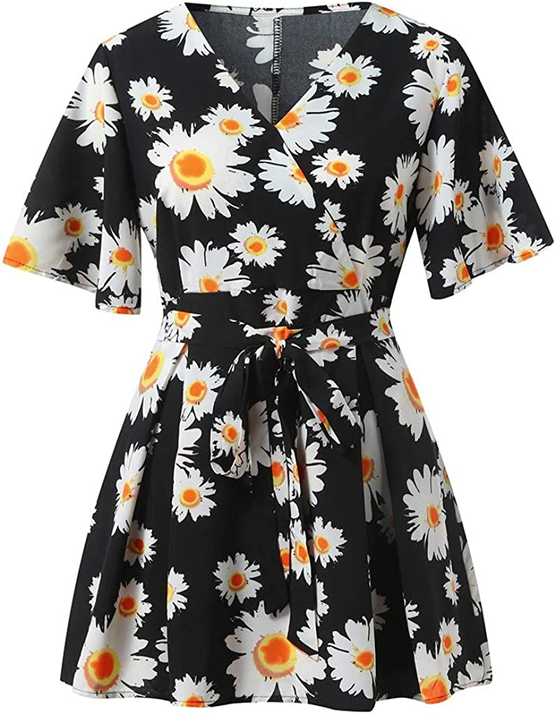 NREALY Chaleco Womens V-Neck Short Sleeve Sashes Floral Daisy Print Dress Short Pants Suit