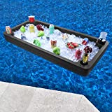 Polar Whale Extra Large Floating Buffet Table Serving Tray and Drink Holder for Swimming Pool or Beach Party Float Bar Lounge Refreshment Durable Black Foam UV Resistant with Cup Holders 4 Feet Wide