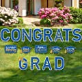 17 Pieces 2021 Graduation Yard Sign Congrats Grad Lawn Sign Class of 2021 Garden Yard Sign with 35 Stakes Waterproof Graduation Party Outdoor Decoration for Graduation Party Lawn Decoration (Blue)