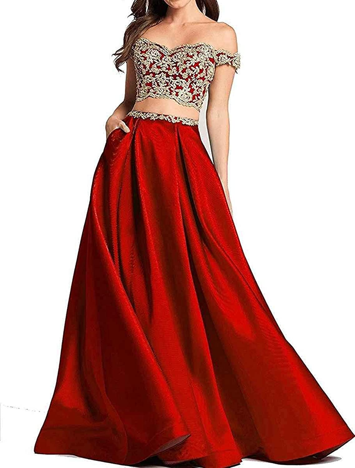 LastBridal Women Off The Shoulder Two Piece Prom Dresses Lace Appliques Formal Evening Gown LB0294