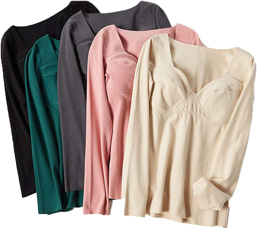 Womens Cotton Stretch Winter Fleece Thermal Underwear Long Sleeve Top with Built in Bra