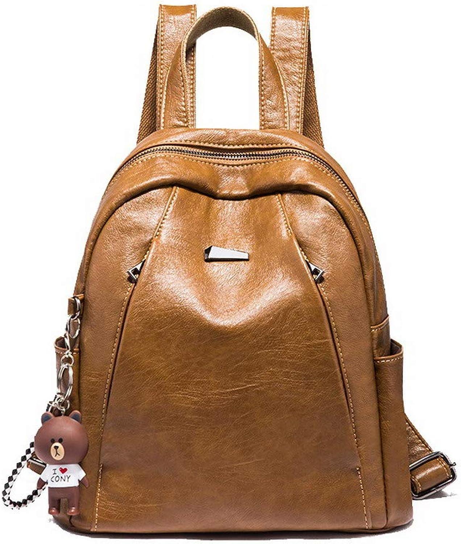 AllhqFashion Women's Tote Bags Shopping Casual Zippers Pu Shoulder Bags,FBUBD198584,Brown
