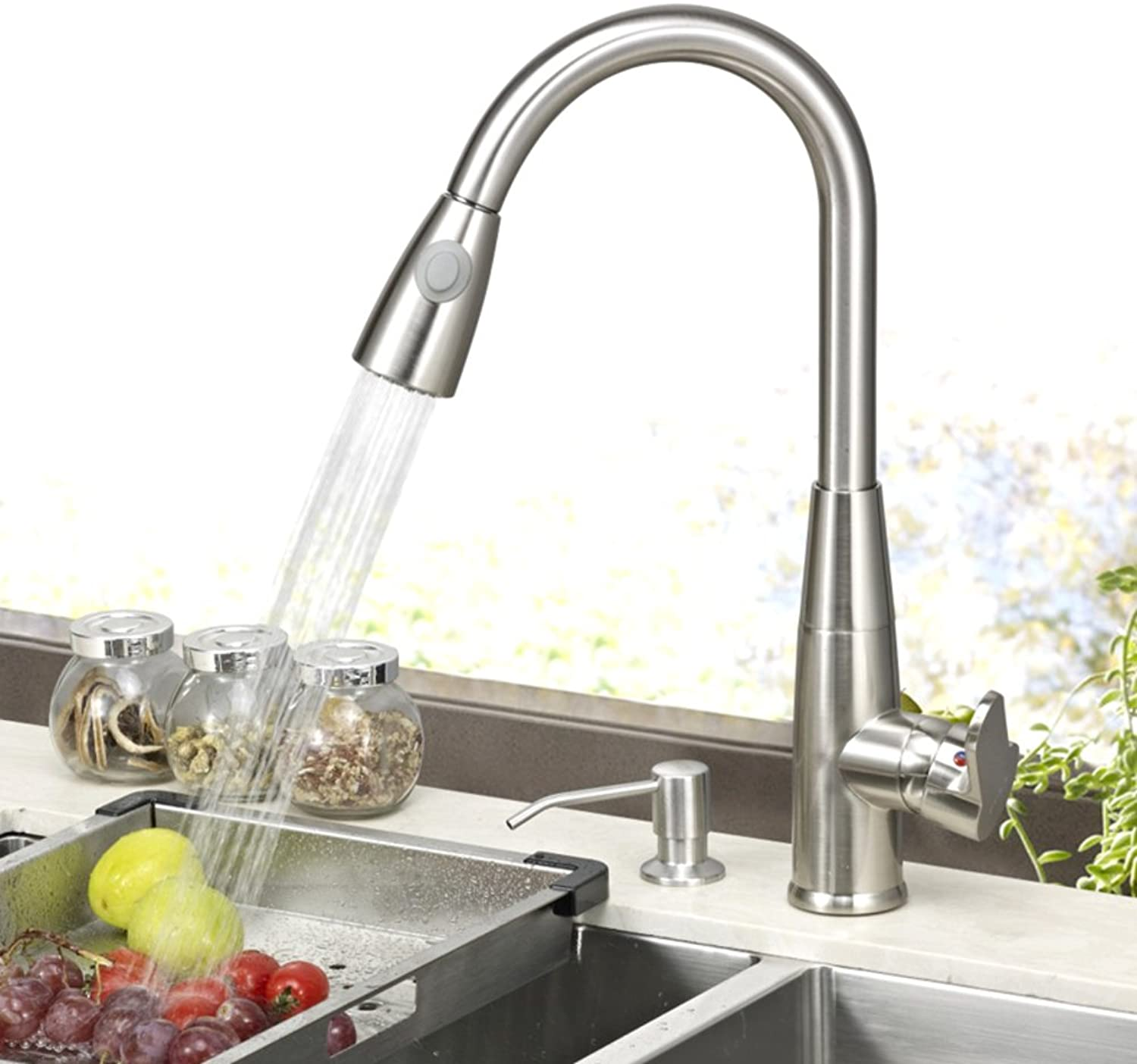 Kitchen Faucet Hot and Cold Sink Faucet Retractable redary Drawing air Conditioning Pull Vegetables Basin Faucet