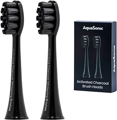 new arrival AquaSonic 2-Pack Activated Charcoal Brush Heads - Ultra Whitening Brush Heads - 2X Whitening & Stain Remover - for Black Series, Black popular Series Pro, Vibe high quality Series, Duo Pro Series (Black) sale