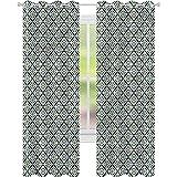 jinguizi Cortina de ventana con motivos florales árabes en cuadrados de 52 x 72 cortinas opacas para dormitorio de los niños