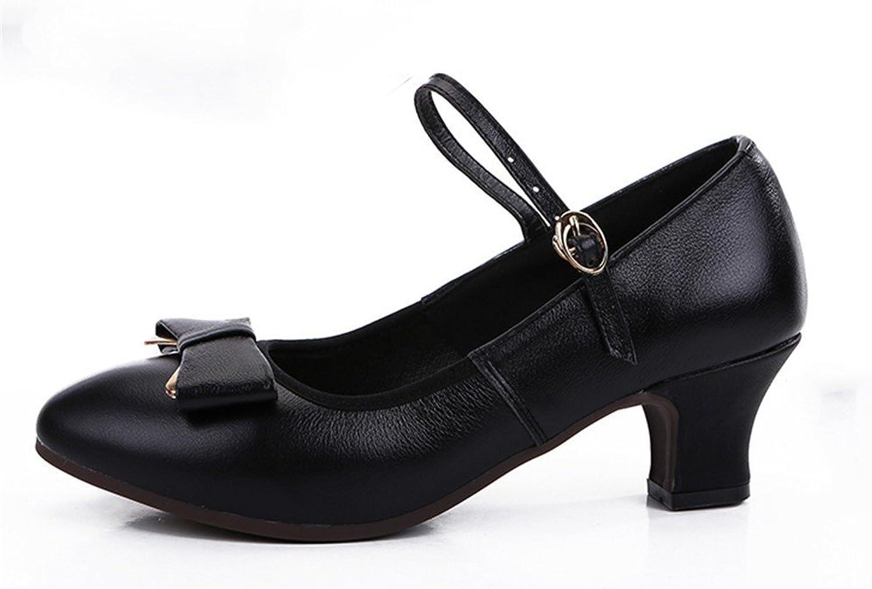 WXMDDN Female Dance shoes Black shoes 5cm Heel Four Seasons Adult Soft Soles Dancing shoes