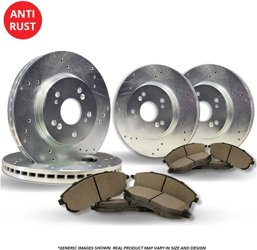 famous Front+Rear Kit Over item handling ☆ High-End 4 Silver Br Coated Cross-Drilled Disc