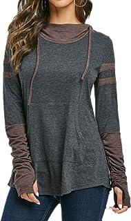 Women Hoodie Long Sleeve Sweatshirt Drawstring Tshirt Casual Lightweight Tops Autumn Spring Sweatshirts Basic Classic Top ...