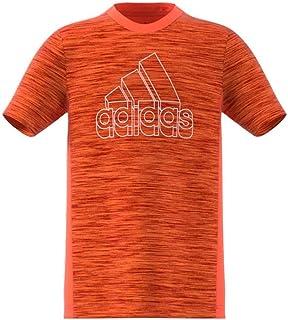 adidas Boys' B A.R HTR TEE T-Shirt, Naraut/Scarlet/White, 9 Años