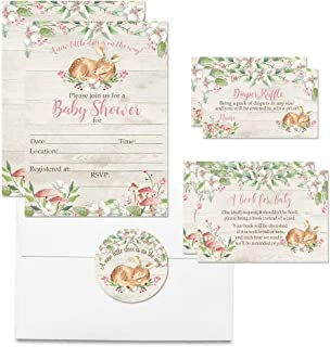 """Deluxe Little Deer Woodland Baby Shower Party Bundle for Girls, Includes 20 Each of 5""""x7"""" Fill in Invitations, Diaper Raffle Tickets, Bring a Book Cards & 2"""" Thank You Favor Stickers w/Envelopes"""