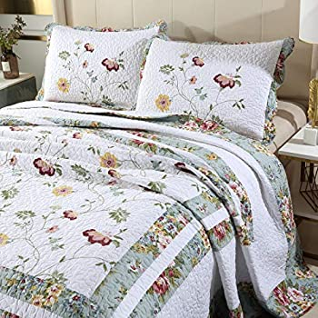 vctops 3-Piece Embroidered Floral Cotton Quilt Set Elegant Reversible Lightweight Bedspread Coverlet with 2 Pillow Shams  Floral Oversize Queen