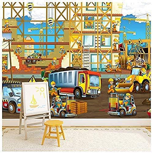 TDYNJJ Mural Vlies Fototapete - Lkw-Bagger Auf Der Baustelle - Fototapete Kinderzimmer - Vliestapete Kinder - Vlies-Tapete Kinderzimmer Mädchen - Geschenk Dekoration