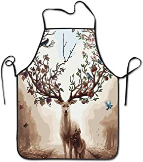 Adjustable Cooking Apron Kitchen Apron Bib Aprons Deer With Tree Antlers Chief Apron Home Easy Care For Kitchen, BBQ, And Grill