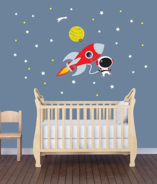 Mini Rocket Wall Decal With Astronaut For Baby Nursery Or Boy S Room