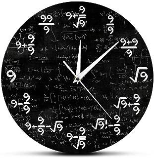 WANGJRU The Nines Math Wall Clock Number 9 Math Modern Clock Wall Watch Math Equation The Clock of 9S Formulas Mathematical Wall Art 30X30Cm