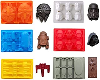 SaSa Design Star War Shaped Mold,Silicone Flexible Molds for Star Wars Lovers Robots Birthday Cake Decoration Candy Molds Chocolate Molds Soap Molds Baking Molds Smile stool Ice Cube Trays 6pcs Set