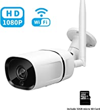 Isotect Outdoor Security Camera,HD 1080p Bullet Camera 2.4GHZ WiFi IP66 Waterproof Night Vision Home Surveillance Camera with 32GB Micro SD Card,Two-Way Audio,Motion Detection-iOS,Android app