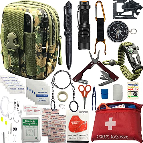 Emergency Survival kit, 65 pcs in 1 Survival Gears with First Aid Compass Knife Tactical Tools Cool Gadgets for Outdoor Camping Hiking Biking Home Gifts Ideas for Men Husband Boyfriend Dad Father Boy