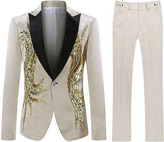 Mens Suits 2 Piece Suit Tuxedo Black Slim Fit Floral Floral Sequin Embroidered Blazer Wedding Dinner Suit Jackets&Trousers