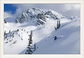 CANVAS ON DEMAND Skier Shredding Powder Below Nak Peak, Cascade Mountains, BC, Canada White Framed Art Print, 33.