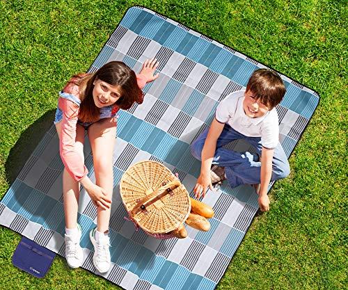 ZOMAKE Picknickdecke wasserdicht sanddichte Fleece 200x200 Outdoor XXL Campingdecke Stranddecke (Graues blaues Gitter 200x200cm)