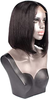 crack of dawn Silky Straight lace front human hair wigs For Black Women Natural Color Middle Part short remy bob wig lace front wigs,Jet Black Color,12inches,150%