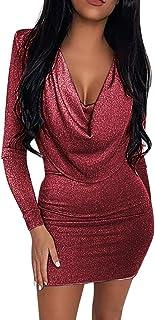 Vestido Sexy Mujer,Vestidos De Fiesta Mujer Cortos Elegantes,Vestido De Lentejuelas Bodycon con Cuello En V De Moda para M...