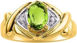 Diamond & Green Peridot Ring Set In Yellow Gold Plated Silver - XOXO Hugs & Kisses Design