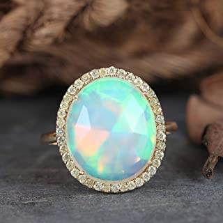 Genuine 3.85 Ct Round Ethiopian Opal Gemstone Solid 14k Yellow Gold Cocktail Ring Pave Diamond Wedding Fine Jewelry Christmas Gifts For Her