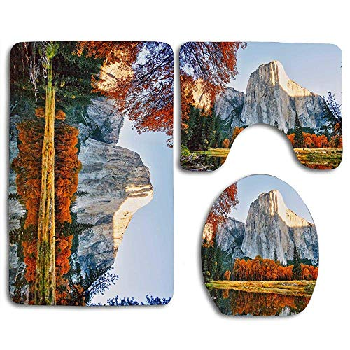 MEWSGK Printing Toilet Seat Cover Thick Flannel Nonslip Decorate Bathroom Carpet 3piece The Best Fall Foliage Parks