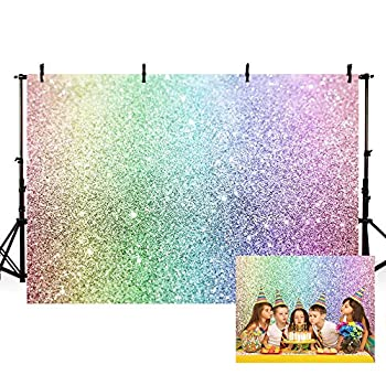 MEHOFOND Glitter Rainbow Photo Studio Booth Background Props Colorful Bokeh Magical Sparkle Kids Happy Birthday Party Decorations Banner Portrait Backdrops for Photography 7x5ft