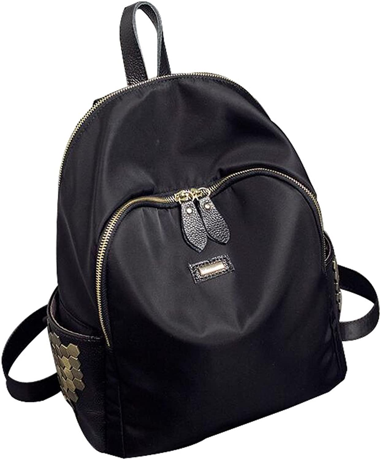 CNFIP Ms Rivet Backpack Genuine Leather Oxford Cloth,S