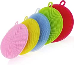 ONEPEARL(LABEL) Cleaning Supplies Sponges Silicone Scrubber for Kitchen Non Stick Dishwashing & Baby Care Sponge Brush Household Health Tool (Set of 2)