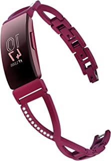 V-MORO Bracelet Compatible with Fitbit Inspire Band/Inspire HR Bands Women Sangria Jewelry Metal Stainless Steel Strap with Bling Stone Replacement for Fitbit Inspire/Inspire HR Smartwatch