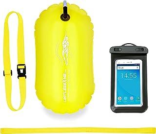 comprar comparacion LimitlessXme Boya De Natación Amarilla con Funda para Móvil. Visibilidad y Seguridad al Nadar en el mar y en el Lago. Swim...