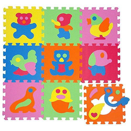 LittleTom Baby Puzzlematte Ab Null Kinder Spielmatte Eva Krabbelmatte Tiere Bunt
