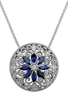Jewel Zone US 925 Sterling Silver Simulated Blue Sapphire & Natural Diamond Filigree Medallion Pendant Necklace