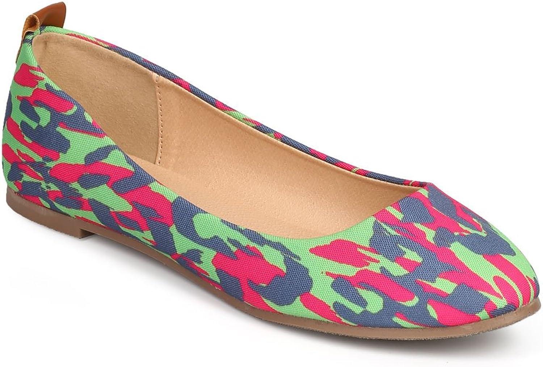 Misbehave Women Wild Leopard Canvas Almond Toe Slip On Ballet Flat DI28 - Fuchsia