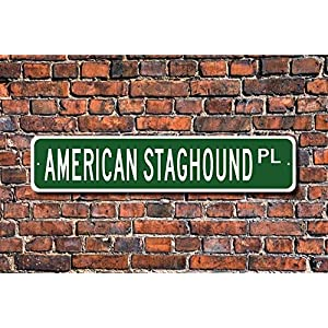 "Jeartyca American Staghound Pit Bull Terrier Sign Dog Lover Gift Street Sign Art Wall Decor Aluminum Metal Sign 4""x18"" Location Sign Metal Decor Metal Tin Signs for Home Decor 8"