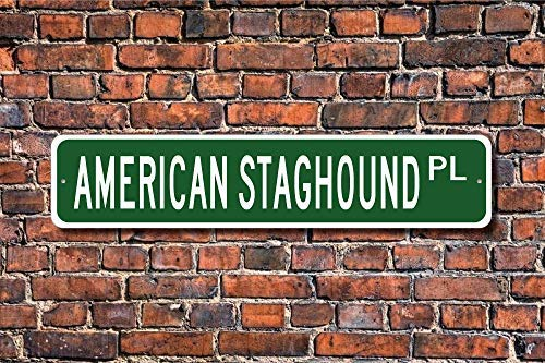 "Jeartyca American Staghound Pit Bull Terrier Sign Dog Lover Gift Street Sign Art Wall Decor Aluminum Metal Sign 4""x18"" Location Sign Metal Decor Metal Tin Signs for Home Decor 1"