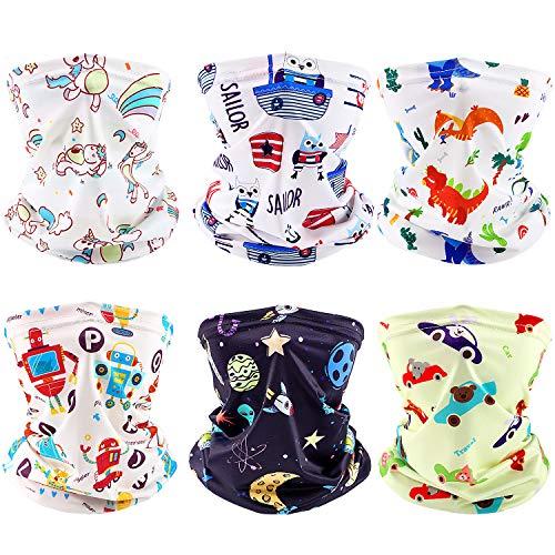 6 Stücke Kinder Gesichtsabdeckung Sommer UV-Schutz Bandana Halsmanschette Staub Windschal Motorrad Gesichtsabdeckung für Kinder Kinder, 6 Styles