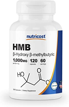 Nutricost HMB (Beta-Hydroxy Beta-Methylbutyric) 1000mg (120 Capsules) - 500mg Per Capsule, 60 Servings - Gluten Free and Non-GMO