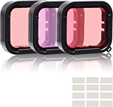 3 in 1 Snorkel Diving Underwater Red/Pink/Purple Lens Filters & Anti-Fog Inserts Compatible with Super Suit Waterproof Housing of GoPro Hero (2018), GoPro Hero 7 Black, Hero 6, Hero 6 Black, Hero 5,