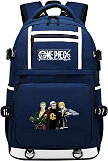One Piece Mochila Hombre para Laptop Mochila Mujer Sling Bag, Bolsa De Pecho con Puerto De Carga USB Mochila De Anime USB De Luffy Team Color Word 48X30X15CM