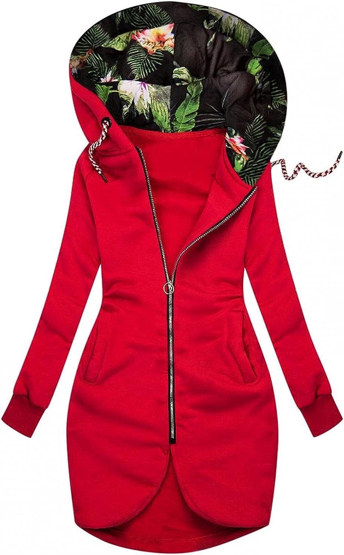 FABIURT Sweatshirt for Women, Women's Floral Print Color Block Hoodie Long Sleeve Hooded Sweatshirts Pockets Jacket Coat