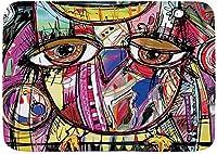マイクロファイバー滑り止めバスマット、落書きフクロウの抽象的なデジタル絵画現代のアニムラスアート、パーソナライズされた洗えるバスルームマットラグ50*80cm-Style01-50*80cm