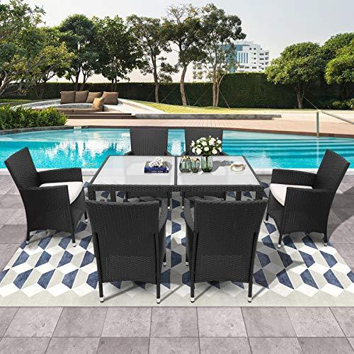 æ— Polyrattan Sitzgruppe für 6 Personen, Poly Rattan Lounge Set, stapelbare Stühle Gartentisch 7cm Dicke Sitzauflagen Gartenmöbel Sitzgarnitur Set, schwarz