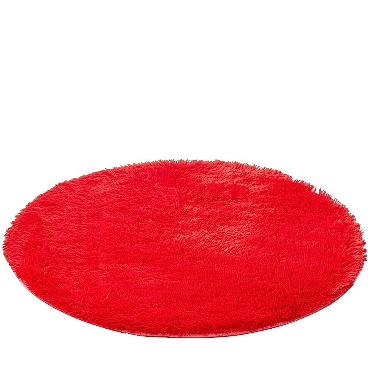 Kikon 洗える 円形 ラグマット カーペット オールシーズン シャギーラグ 絨毯 滑り止め付 丸型 冬用 夏用 防ダニ 抗菌 防臭 床暖房対応 (直径100cm, レッド)